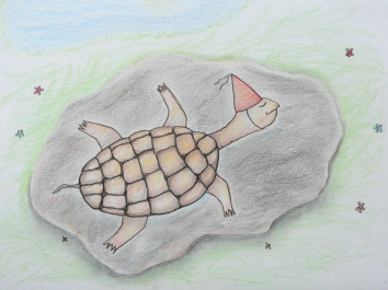 Turtles Birthday Surprise, Illustration for Children's Book, Copyright 2014 Nancy Jane Lang, All rights reserved.